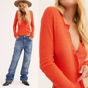 Free People One of the Girls Henley Coral Delux S